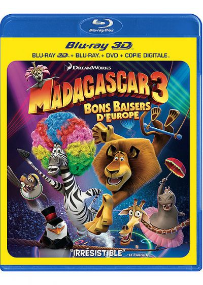 Madagascar 3 : Bons baisers d'Europe (Combo Blu-ray 3D + Blu-ray + DVD + Copie digitale) - Blu-ray 3D