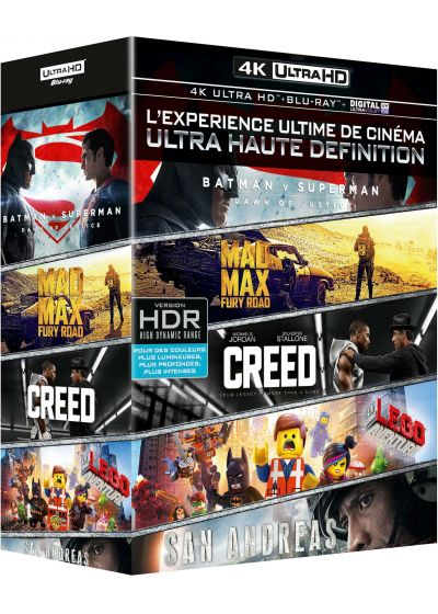 Coffret 4K Ultra HD : Batman v Superman + Mad Max Fury Road + Creed + San Andreas + La grande aventure Lego (4K Ultra HD + Blu-ray + Copie Digitale UltraViolet) - Blu-ray 4K