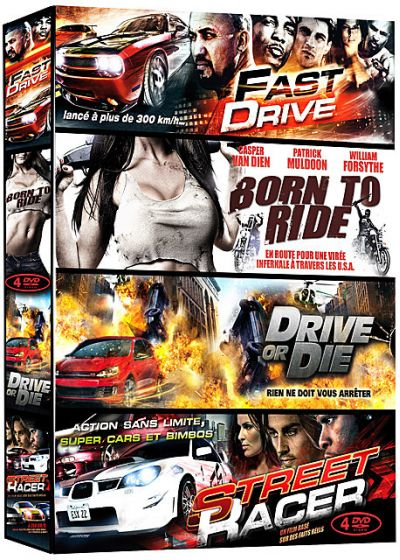 Grosses cylindrées - Coffret 4 films : Fast Drive + Born to Ride + Drive or Die + Street Racer (Pack) - DVD