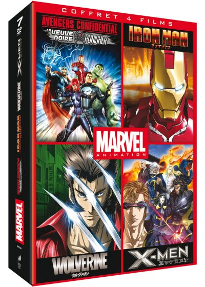 Marvel Animés - Coffret : Iron Man + Wolverine + X-Men + Avengers Confidential - DVD