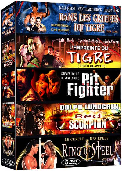Action aventure - Coffret 5 films n° 2 : Dans les griffes du Tigre + L'empreinte du Tigre + Pit Fighter + Red Scorpion + Ring of Steel (Pack) - DVD