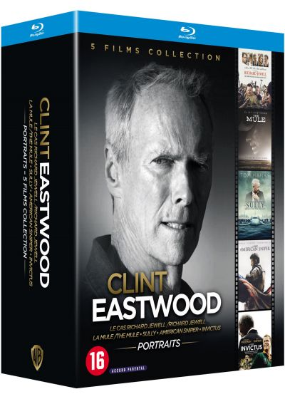 Clint Eastwood - Portraits - 5 films collection : Le Cas Richard Jewell + La Mule + Sully + American Sniper + Invictus (Pack) - DVD