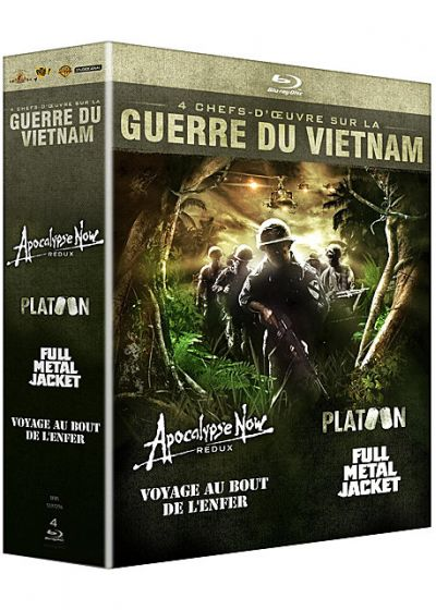 Guerre du Vietnam - Coffret 4 films : Apocalypse Now + Platoon + Full Metal Jacket + Voyage au bout de l'enfer (Pack) - Blu-ray